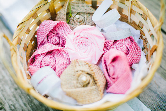 Pink Rosettes (by Belle Rose Designs, photo by Beth Insalaco) - What Does a Flower Girl Do? via EmmalineBride.com