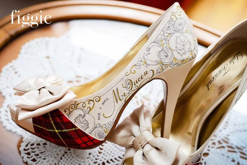 handpainted mcqueen tartan plaid wedding shoes | via 31 Best Handmade Wedding Shoes https://emmalinebride.com/bride/handmade-wedding-shoes/
