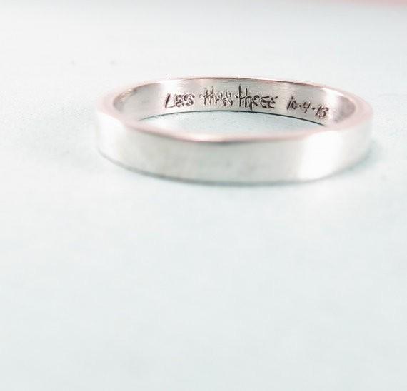 handwriting wedding ring | handmade wedding bands | http://emmalinebride.com/jewelry/handmade-wedding-bands/