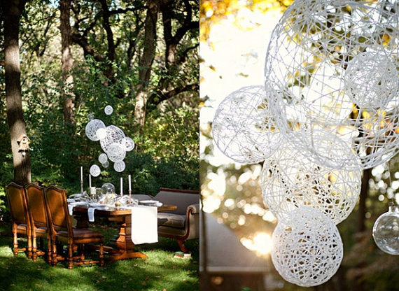 hanging spheres (by the find sac, photo by ee photography) via Emmaline Bride