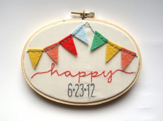 happy bunting embroidery wedding hoop art