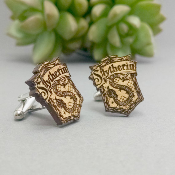 harry potter Slytherin | Custom Cufflinks Groomsmen Gifts | via EmmalineBride.com