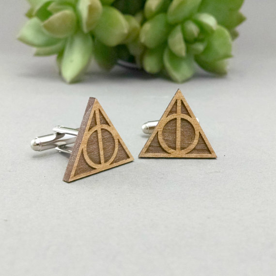 harry potter deathly hallows | Custom Cufflinks Groomsmen Gifts | via EmmalineBride.com