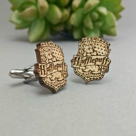 harry potter hufflepuff | Custom Cufflinks Groomsmen Gifts | via EmmalineBride.com