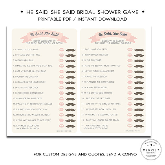 he said she said bridal shower game by merrily designs