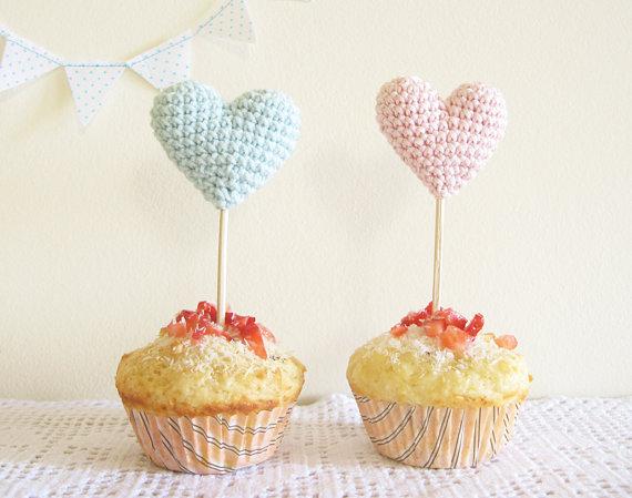 heart cake toppers by Cherry Time via Emmaline Bride