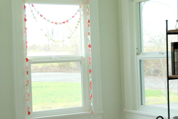 heart garland around window