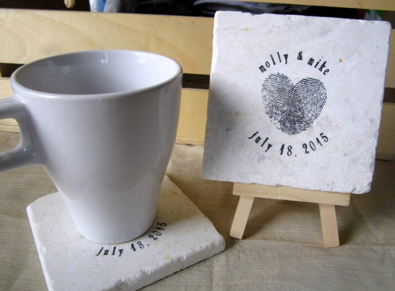 heart thumbprint coaster favors
