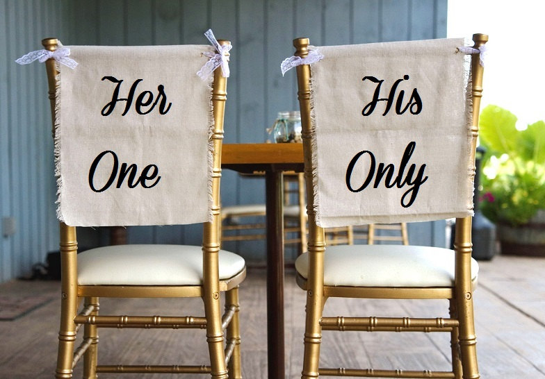 her one his only chair signs | via bride and groom chair signs https://emmalinebride.com/decor/bride-and-groom-chairs/