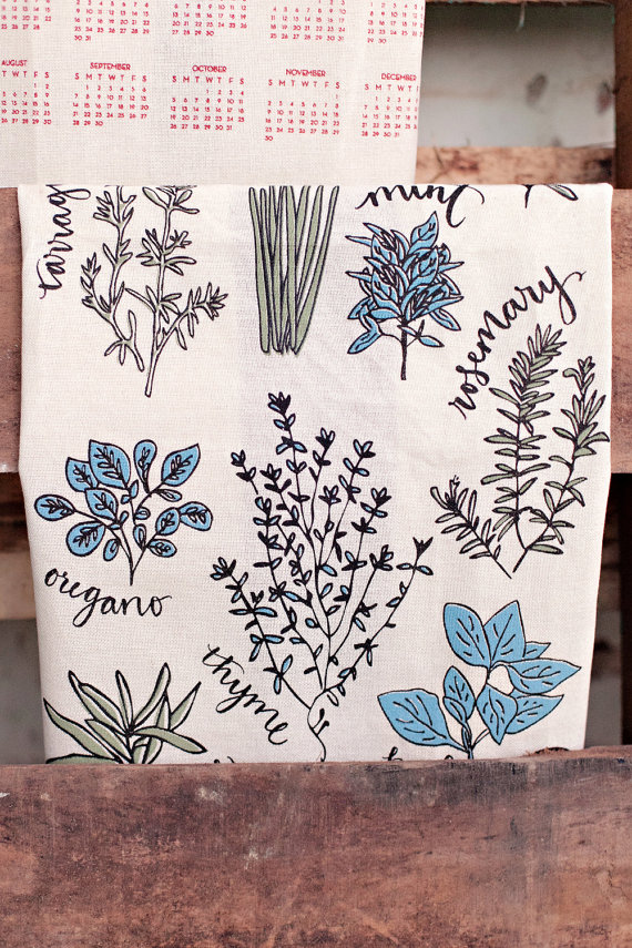 herbs - tea towels for wedding showers