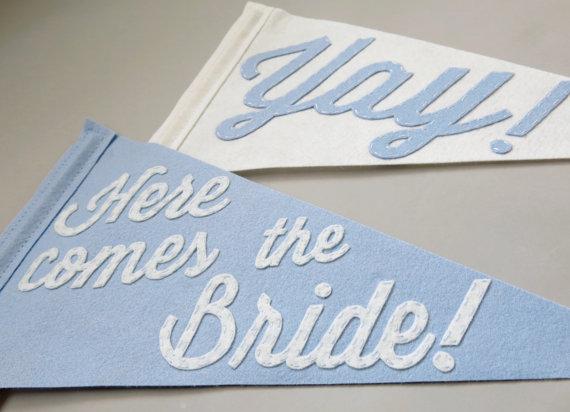here comes the bride felt wedding banner