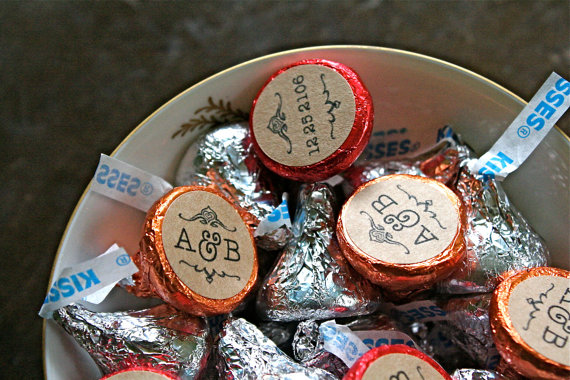 hershey kisses favor stickers by clementine weddings
