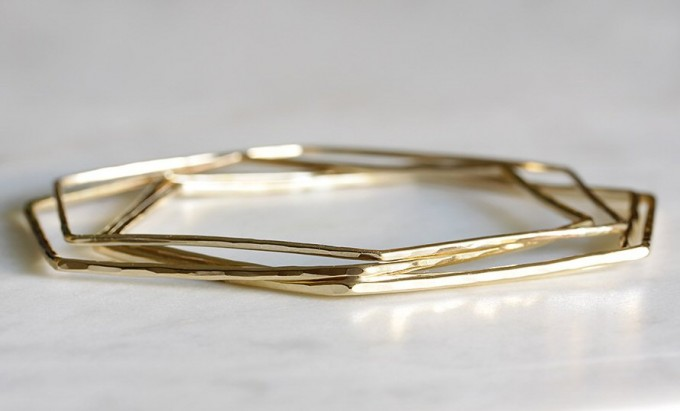 Bangle bracelets gold by Andrea Bonelli Jewelry | https://emmalinebride.com/2015-giveaway/bangle-bracelets-gold/