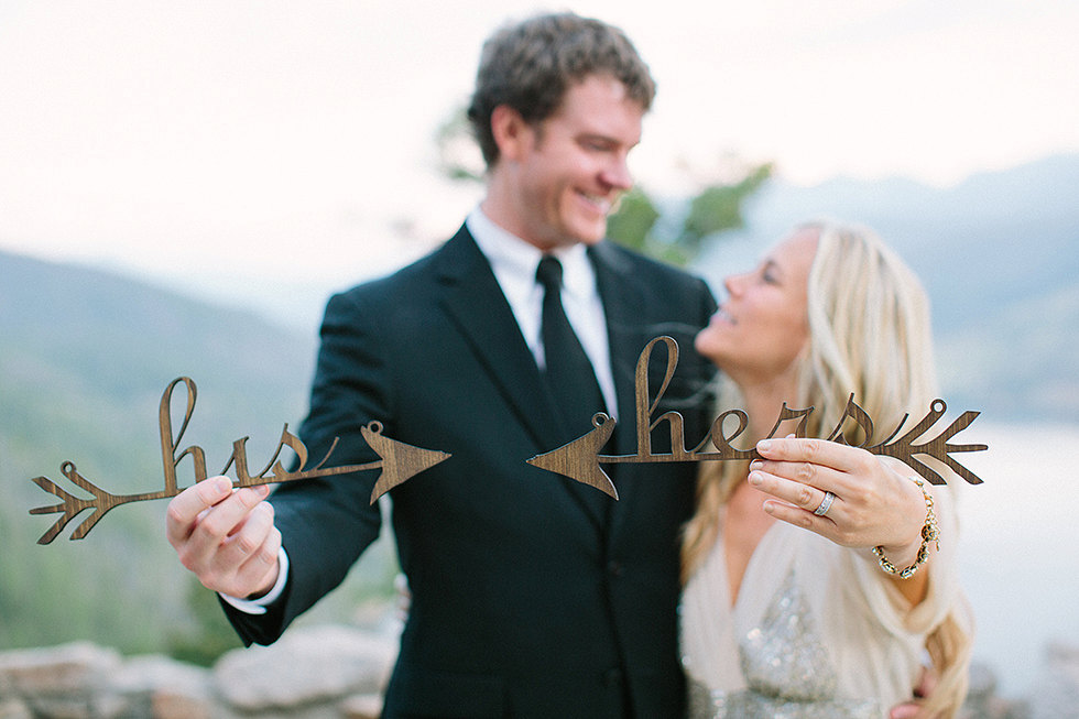 his hers wedding chair signs | via bride and groom chair signs https://emmalinebride.com/decor/bride-and-groom-chairs/