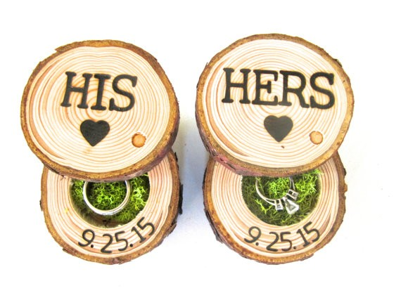 rustic ring pillows from end grain wood shoppe | via http://emmalinebride.com/ceremony/rustic-ring-pillows/