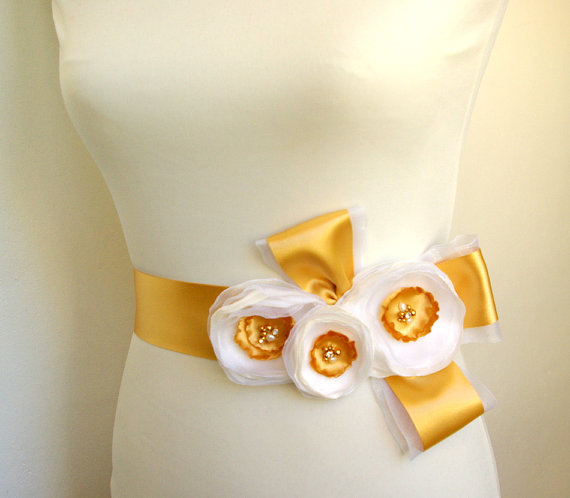 Flower Sash for Wedding Dress in Honey Gold