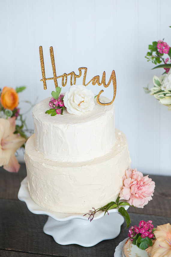 hooray   fun cake toppers in words