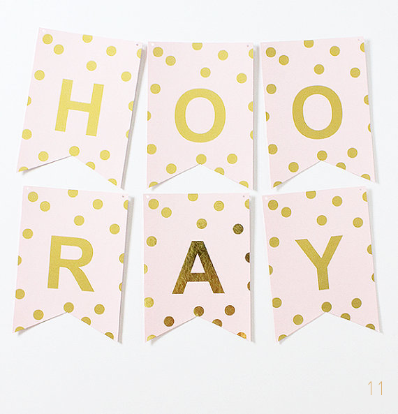 hooray gold foil banner dots via 30 Best Gold Foil Ideas for Weddings EmmalineBride.com