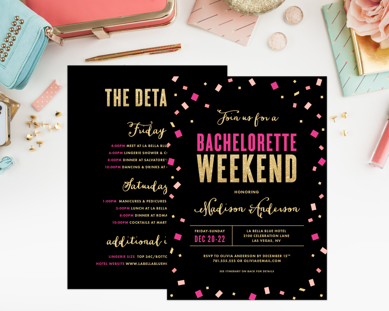 hot pink and black bachelorette party invitation by fine and dandy paperie | fun bachelorette party ideas | http://emmalinebride.com/planning/fun-bachelorette-party-ideas/
