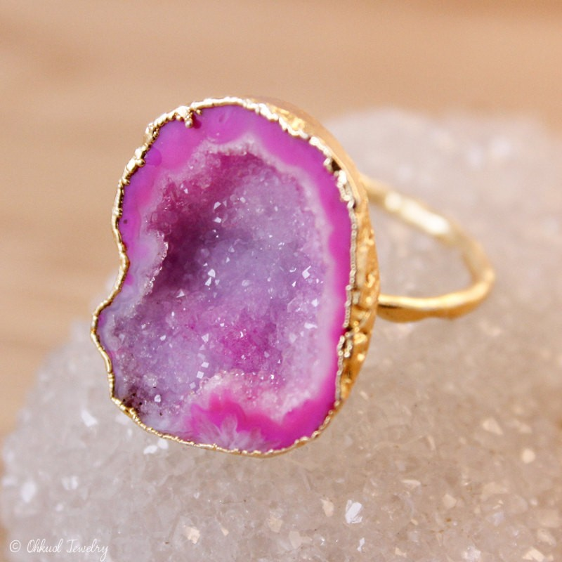 hot pink druzy ring by ohkuol