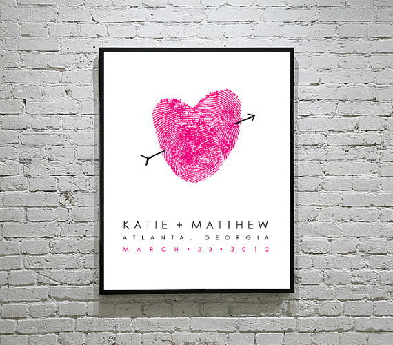 hot pink finger print guest book poster