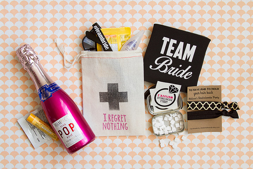 hot pink hangover kits bachelorette party by be collective | fun bachelorette party ideas | http://emmalinebride.com/planning/fun-bachelorette-party-ideas/