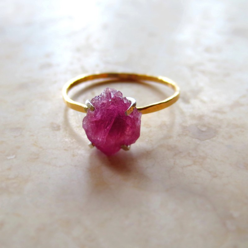 hot pink rough gemstone raw pink tourmaline ring by alison titus jewelry