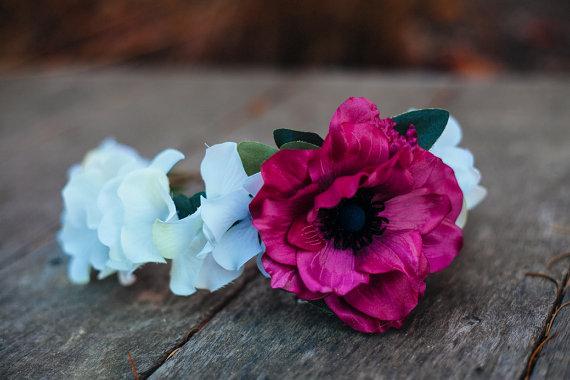 Bridal Hair Crowns - hot pink