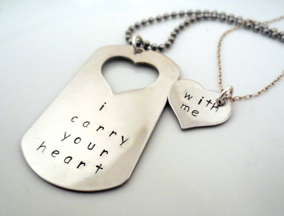 i carry your heart jewelry set - dog tag and necklace