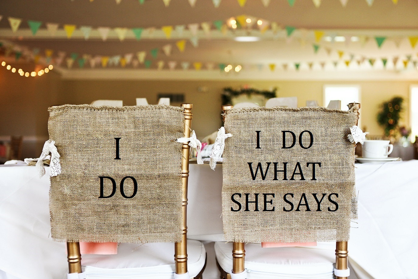 i do what she says chair signs | via bride and groom chair signs https://emmalinebride.com/decor/bride-and-groom-chairs/