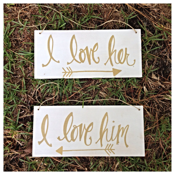 i love her i love him | via bride and groom chair signs https://emmalinebride.com/decor/bride-and-groom-chairs/
