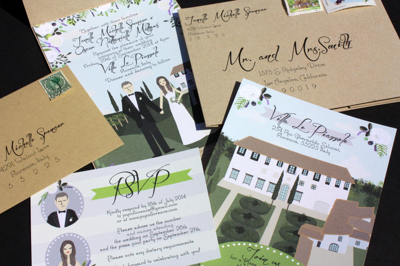 illustrated wedding invitations by chicks and hens   return address invitations