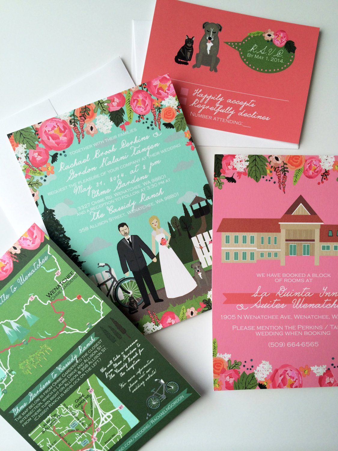 illustrated wedding invites | return address invitations
