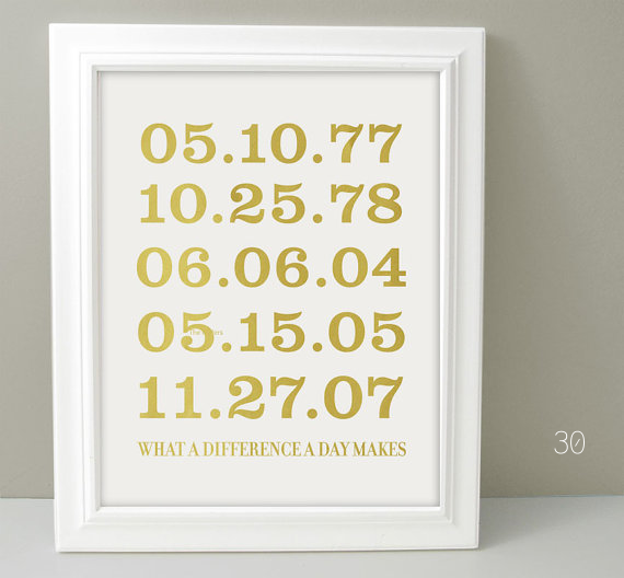 important dates wedding print gold via 30 Best Gold Foil Ideas for Weddings