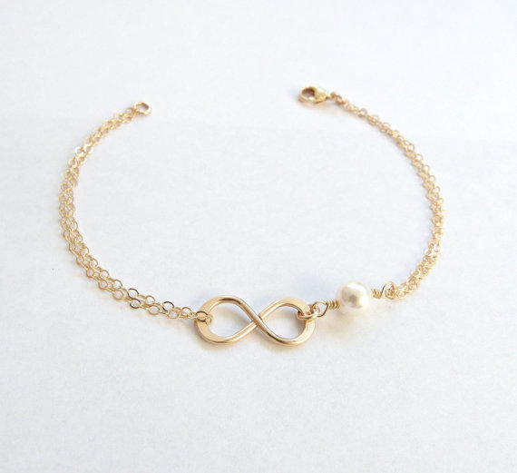 Infinity Bracelet Gift Bridesmaid by Vintage Stamp Jewels
