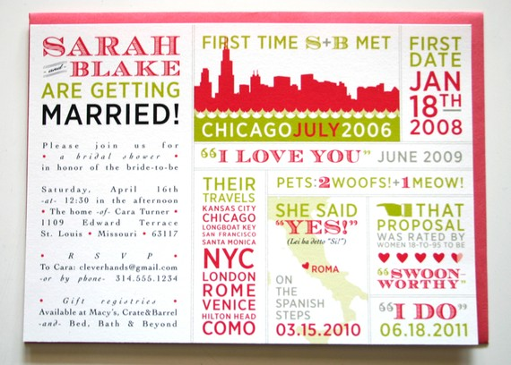 Infographic Wedding Invitations (by Clever Hands Press)