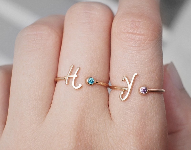 initial and birthstone ring | birthstone jewelry gifts | https://emmalinebride.com/gifts/birthstone-jewelry-gifts/