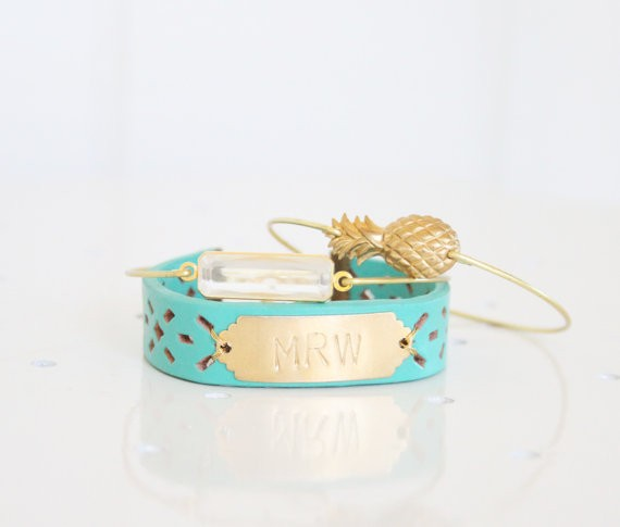 initial monogram bracelet with bangle