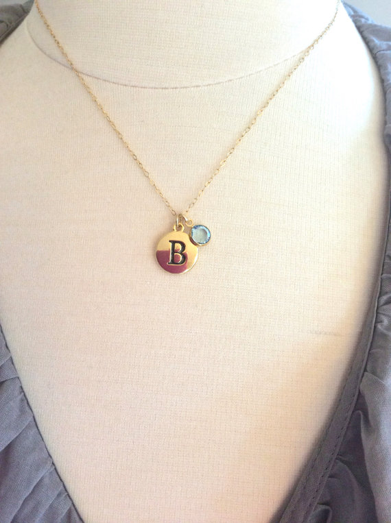 initial necklace for bridesmaid sister in law with birthstone charm and personalized initial pendant