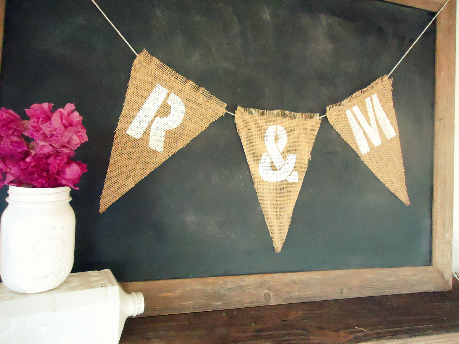 initials burlap wedding banner | 50 Best Burlap Wedding Ideas | via http://emmalinebride.com/decor/burlap-wedding-ideas/
