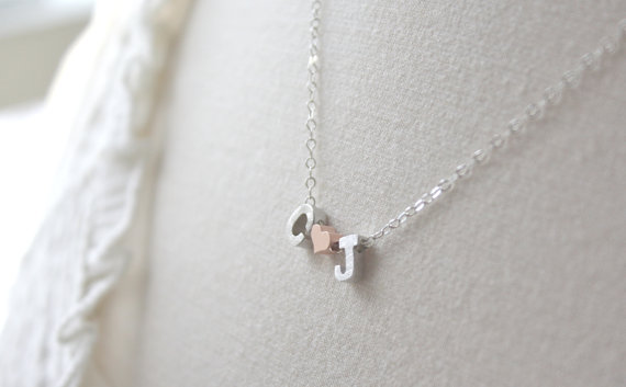 Initial Necklace with Heart - Silver