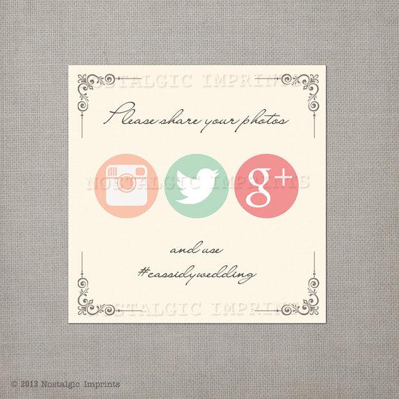 5 Ways to Embrace Social Media at Weddings - social media sign by nostalgic imprints