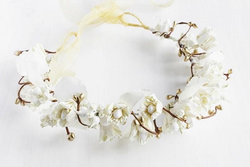 Ivory & Cream | Flower Girl Hair Crowns | https://emmalinebride.com/flower-girl/hair-crowns/