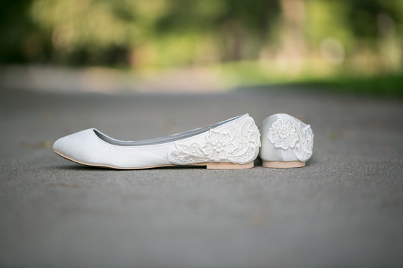 ivory wedding flats with lace