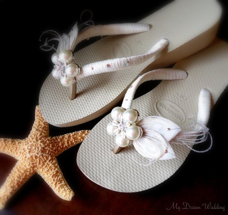 Ivory Wedge Sandals for Beach Wedding | via 31 Best Handmade Wedding Shoes http://emmalinebride.com/bride/handmade-wedding-shoes/