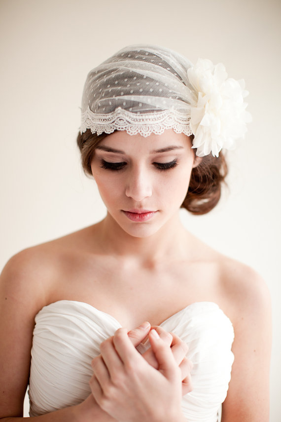 How to Rock a No Veil Wedding Look (via EmmalineBride.com) - bridal cap by Melinda Rose Design, photo by Atlas and Elia