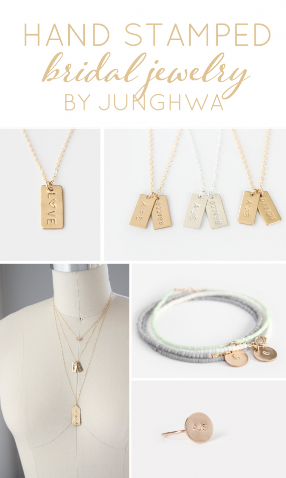 Hand Stamped Bridal Jewelry by junghwa | https://emmalinebride.com/2015-giveaway/hand-stamped-bridal-jewelry/