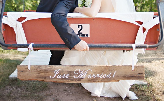 just married barn wood sign | via bride and groom chair signs https://emmalinebride.com/decor/bride-and-groom-chairs/