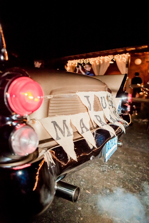 just married car bunting barn wedding