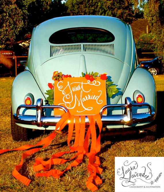 wedding gift ideas from a to z - just married car sign by lavender calligraphy, photo by a.b. photography